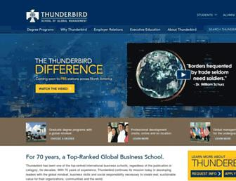 Main page screenshot of thunderbird.edu