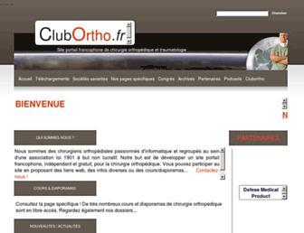 Main page screenshot of clubortho.fr