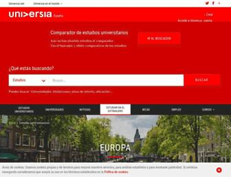 Main page screenshot of internacional.universia.net