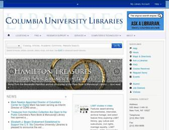 Main page screenshot of library.columbia.edu