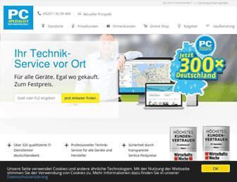 Main page screenshot of pcspezialist.de