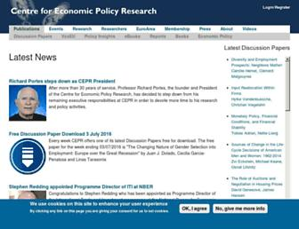 Main page screenshot of cepr.org