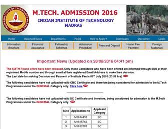 mtechadm.iitm.ac.in screenshot