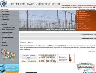 Main page screenshot of uppcl.org