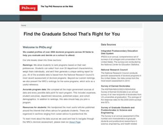Main page screenshot of graduate-school.phds.org