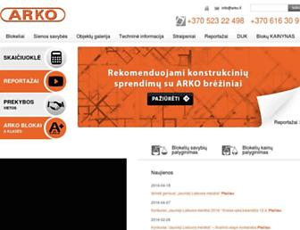 Main page screenshot of arko.lt