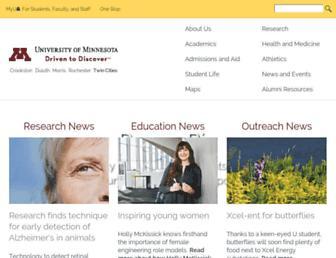 Main page screenshot of umn.edu