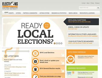 Main page screenshot of elections.org.nz