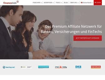 Main page screenshot of financeads.net