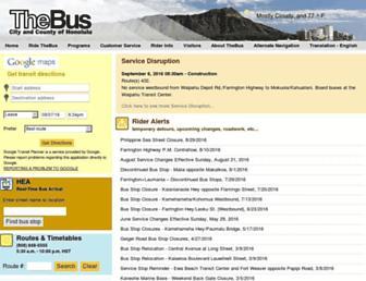 Main page screenshot of thebus.org