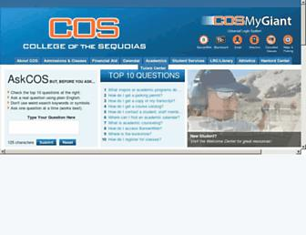 Main page screenshot of cos.edu