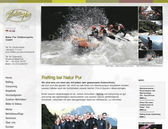 Main page screenshot of rafting-canyoning.de