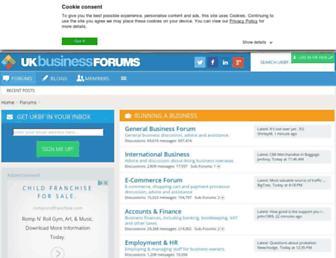 Main page screenshot of ukbusinessforums.co.uk