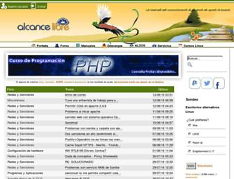 Main page screenshot of alcancelibre.org
