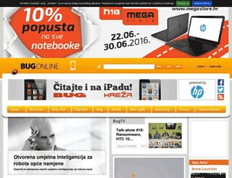 Main page screenshot of bug.hr