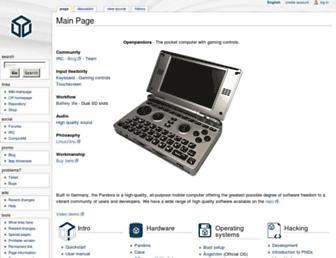 Main page screenshot of pandorawiki.org