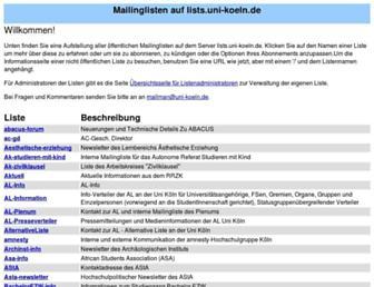 lists.uni-koeln.de screenshot