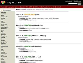 Main page screenshot of pkgsrc.se