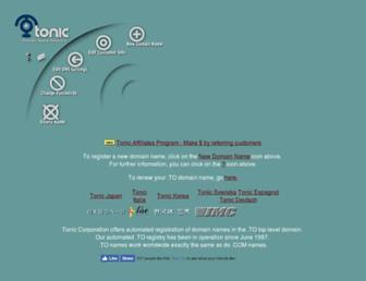 Main page screenshot of tonic.to