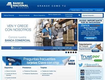 Main page screenshot of banconal.com.pa