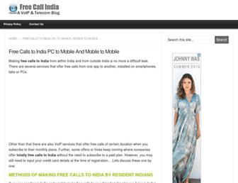 Main page screenshot of freecallindia.org