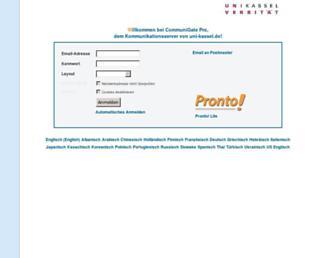 Main page screenshot of wwwmail.uni-kassel.de