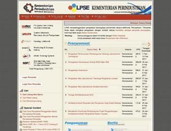 lpse.kemenperin.go.id screenshot
