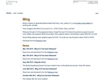 Main page screenshot of libming.org