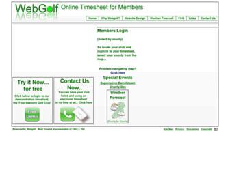 Main page screenshot of webgolf.ie