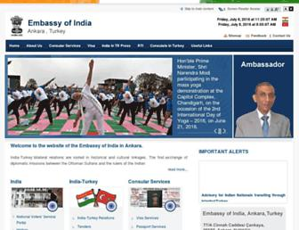 Main page screenshot of indembassy.org.tr