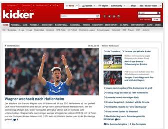 Main page screenshot of kicker.de