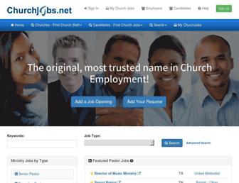 Main page screenshot of churchjobs.net