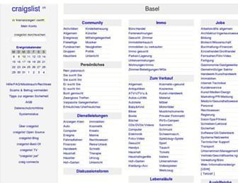 Main page screenshot of basel.craigslist.ch