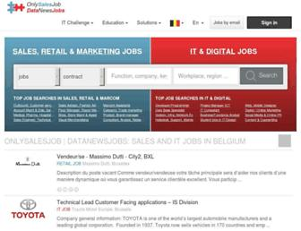 Main page screenshot of onlysalesjob.be