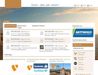 Main page screenshot of typo3.net