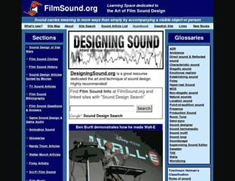 Main page screenshot of filmsound.org