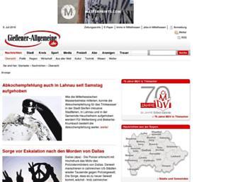 Main page screenshot of giessener-allgemeine.de