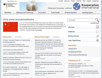 Main page screenshot of kooperation-international.de