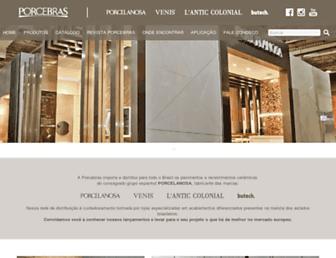 Main page screenshot of porcelanosabrasil.com.br