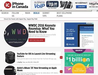 Main page screenshot of iphoneincanada.ca