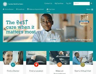Main page screenshot of carolinashealthcare.org