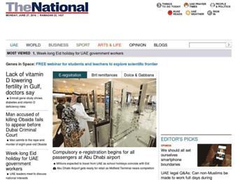 Main page screenshot of thenational.ae