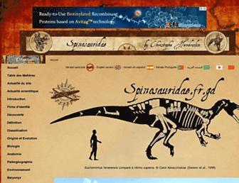 Main page screenshot of spinosauridae.fr.gd