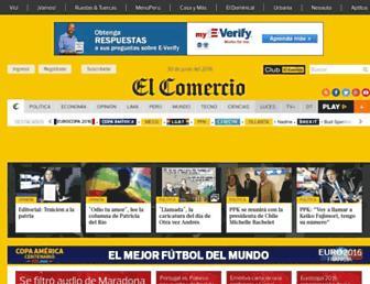 Main page screenshot of elcomercio.pe