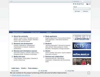 Main page screenshot of muni.cz