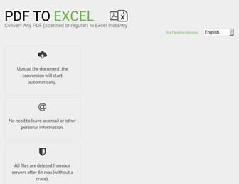 pdftoexcel.com screenshot