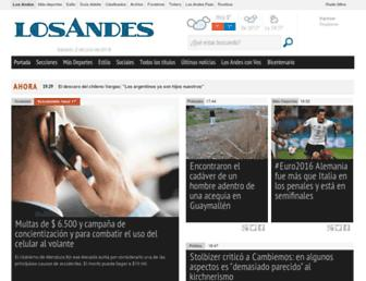 Main page screenshot of losandes.com.ar