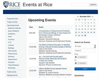 Main page screenshot of events.rice.edu