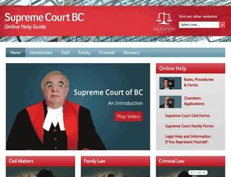 Main page screenshot of supremecourtbc.ca