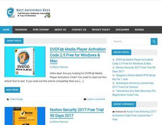 bestantiviruskeys.com screenshot